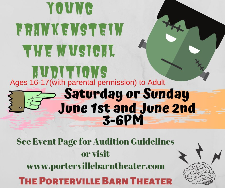 Auditions – Young Frankenstein!!!! – Porterville Barn Theater